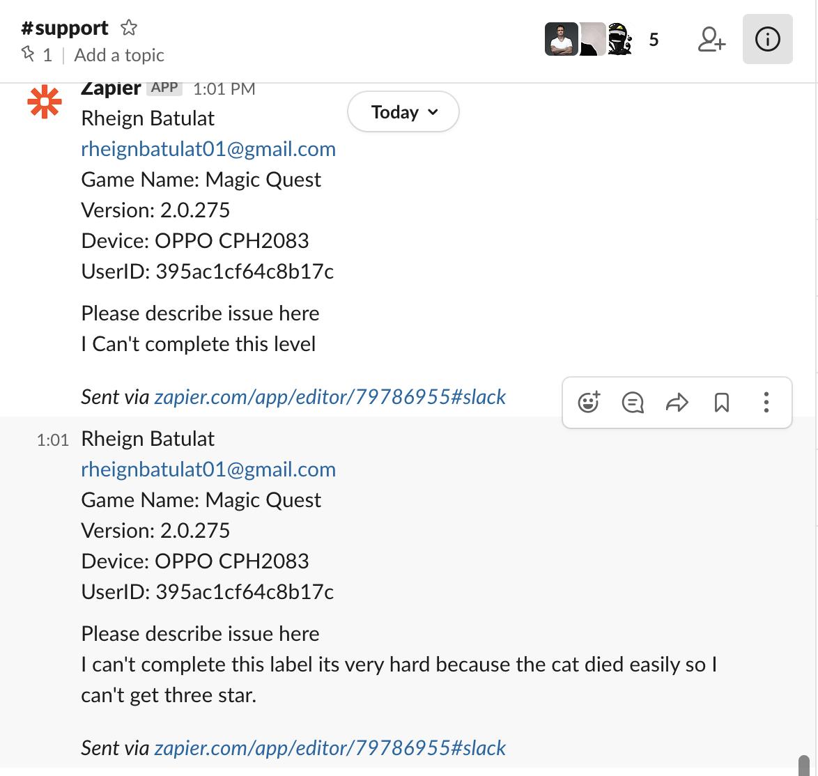 Сообщение с фидбэком игрока в Slack